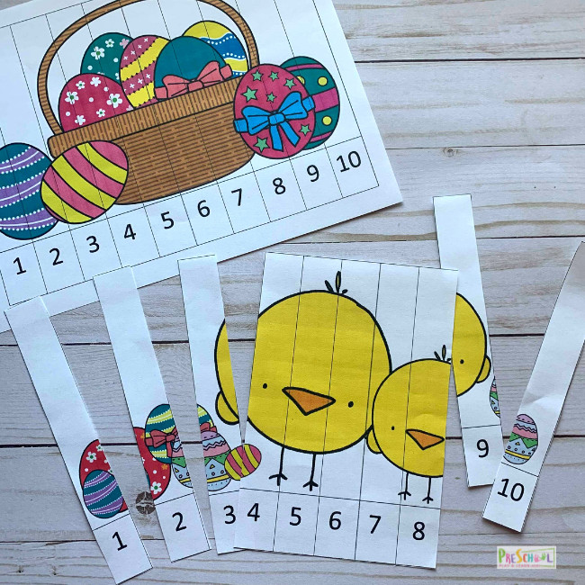 super cute math printable for easter maths activities with basket filled with easter eggs and yellow chicks with easter eggs