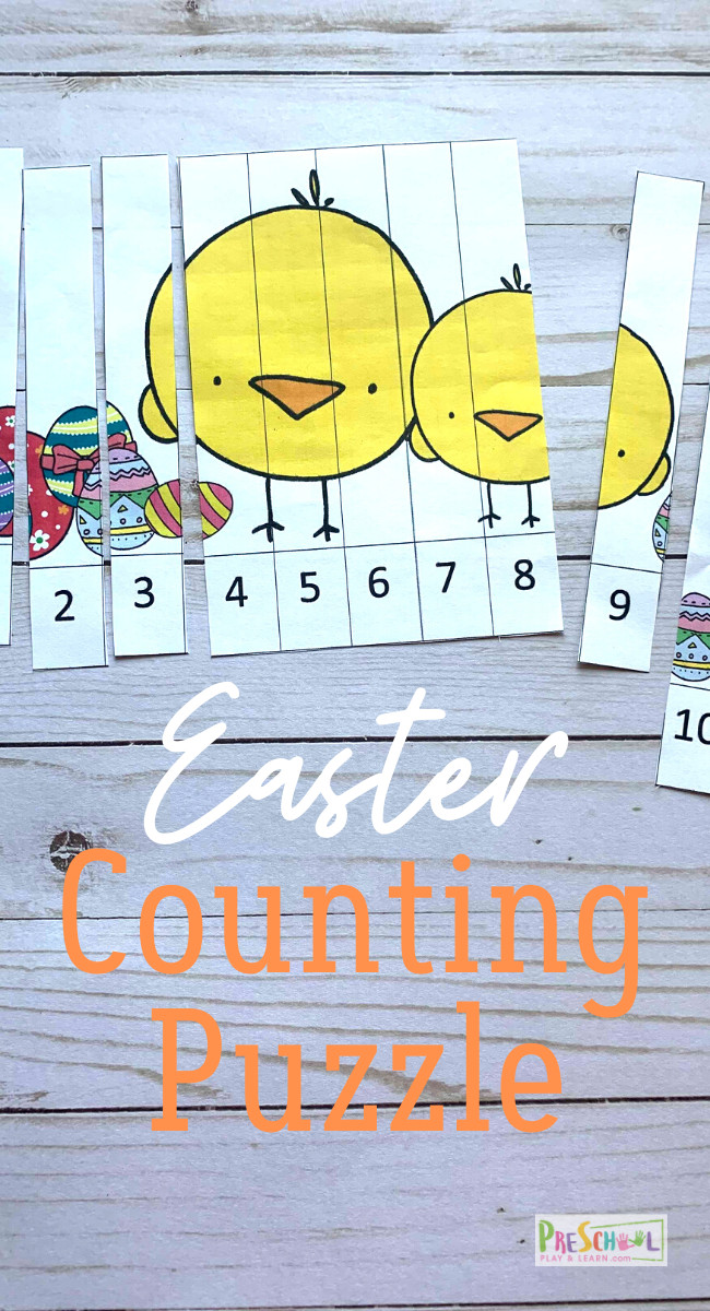 FREE Easter Counting Puzzles - Students will have fun practicing counting to 10 with these Counting Puzzles Easter Printables perfect for toddler, preschool, and pre k math in April. #preschool #Prek #toddler #mathprintable #easterprintable