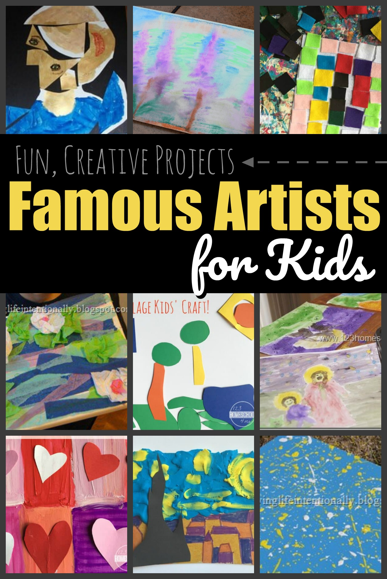 Famous Artists for Kids - lots of fun projects and crafts for kids to explore projects like van gogh, oney, matisse, polluck, etc. Plus we have a free famous artist report form; the tempalte works with any artist. #famousartists #artprojects #artforkids