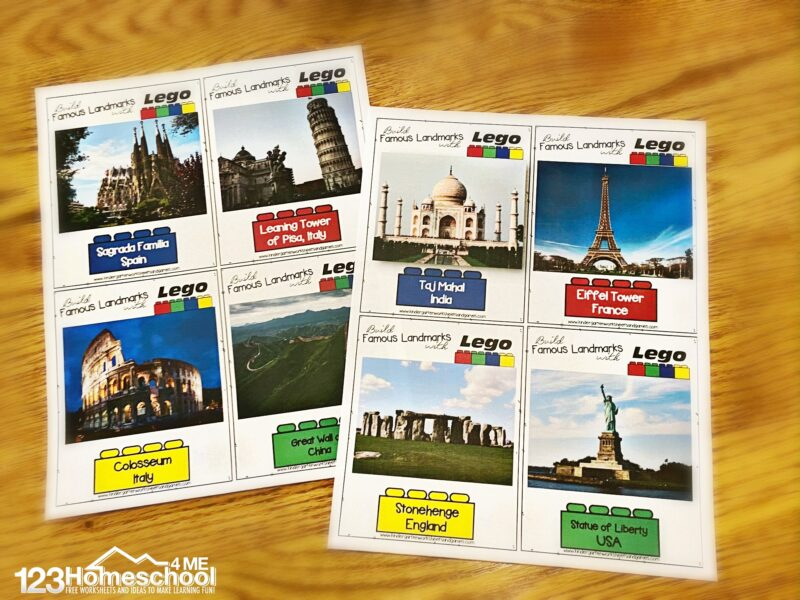 teach students about Famous Landmarks Around the World using lego: leaning tower of pisa, taj majal, eiffel tower, stone henge, stateu of liberty, great wall of china, colosseum, sagrada familia in spain