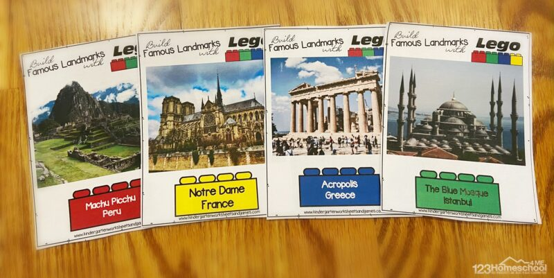 teach kids about famous structure like machu pichu, notre dame cathedtral, acropolis in greece, and the blue mosque in istsanbul with these building challenge cards for kids
