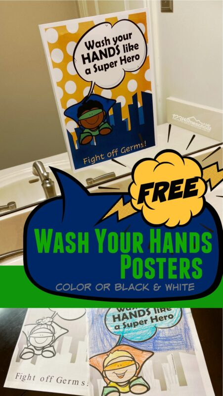 FREE Printable hand washing posters - we have girl and boy super hero wash your hands poster in color and black and white to print, color and put by every sink in every bathroom in your house, school, classroom, etc. to stop a virus, flu, and germs from spreading!
