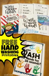 20+ FREE Hand Washing Printables for parents, family, teachers to hang in their classrooms to remind kids to wash their hands! Especially in flu season and when they are sick to stop the virus from spreading even farther. Print your favorite in color or black and white to hang by every sink in every bathroom in the house.