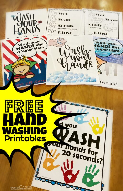 20+ FREE Hand Washing Printables for parents, family, teachers to hang in their classrooms to remind kids to wash their hands! Especially in flu season, when they are sick, and to stop a avirus from spreading even farther. Print your favorite in color or black and white to hang by every sink in every bathroom in the house. #washhands #stoptheflu
