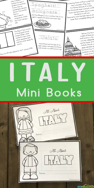 FREE Italy for Kids Printable Fact Books - students will color, read, and learn about famous landmarks, flag, map, customs, famous landmarks, pizza, leaning tower of pizza, venice, art like David statue,, and more. This is great for teaching geography, countries around the world, and exploring during coronavirus pandemic in italy. Use with students in Kindergarten first grade, 2nd grade 3rd grade, 4th grade, 5th grade, and 6th grade students. #italyforkids #geography #covid19, #schoolathome