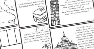 lots of ufn Italy Information for Kids in a printable book for kids to color and assemble - tiramasu, pizza, leanign tower of pizza, san marco, map, Italy flag, and more!