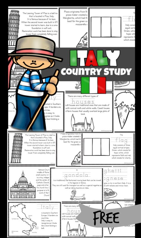 Children will love learning about Italy for Kids with these free Italy printables mini books. These fact books help students learn about Italian culture, their way of life, famous landmarks, and their interests. They will also learn about Italy, a peninsula country that looks like a boot kicking a ball. This is a great resource for learning about countries around the world with kindergarten, first grade, 2nd grade, 3rd grade, 4th grade, 5th grade, and 6th grade students.