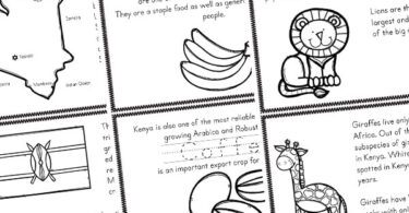 free Kenya Printables including country map, flag, export, animals, coffee beans, customs, and more