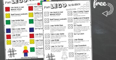 free printable, lego themed Kids Activities Poster for toddlers, preschoolers, pre k, kindergartners, first graders, 2nd graders, 3rd graders, 4th graders, 5th graders