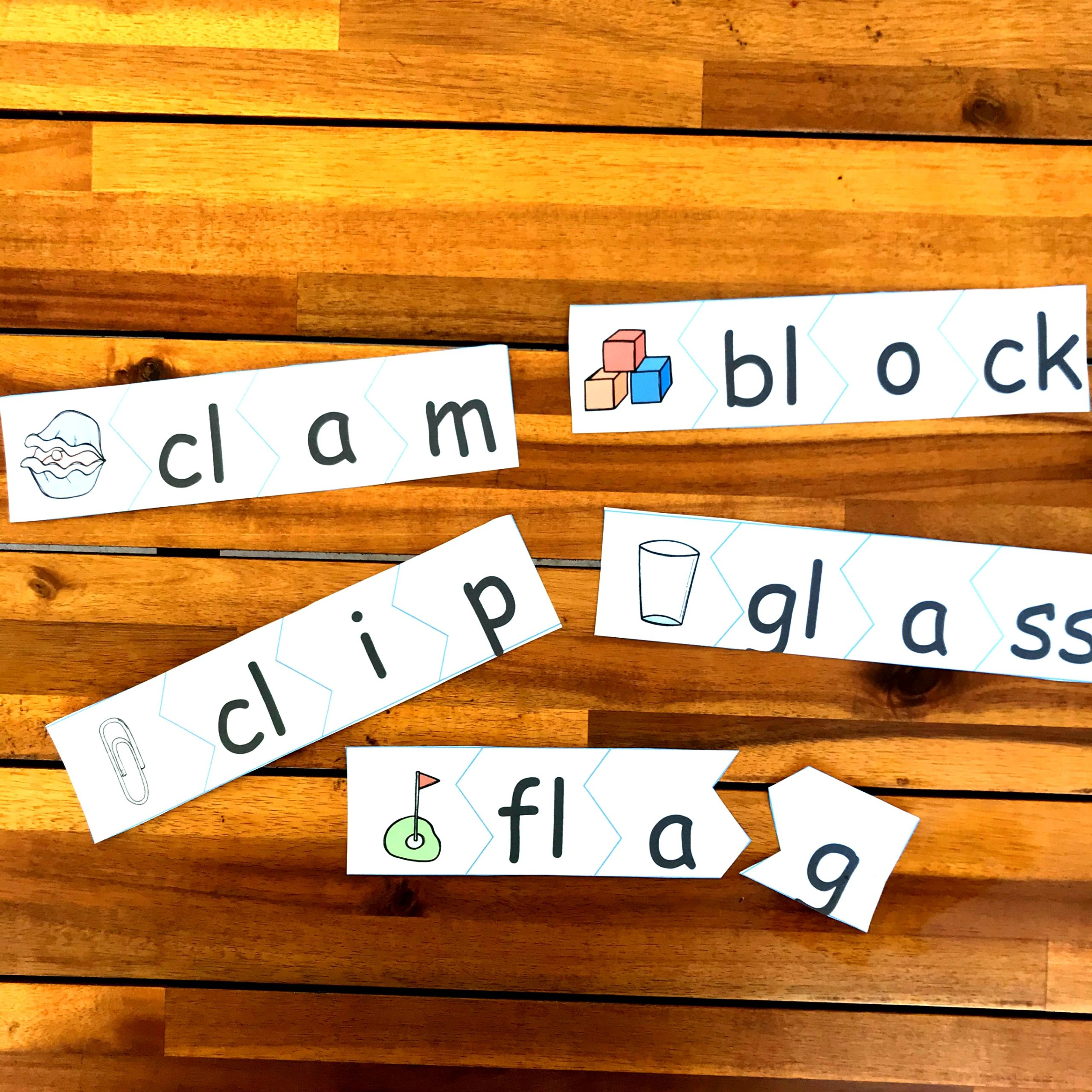 hands on activity for working on L Blend Words such as clam, clip, flag, glass, and block featuring picture clues