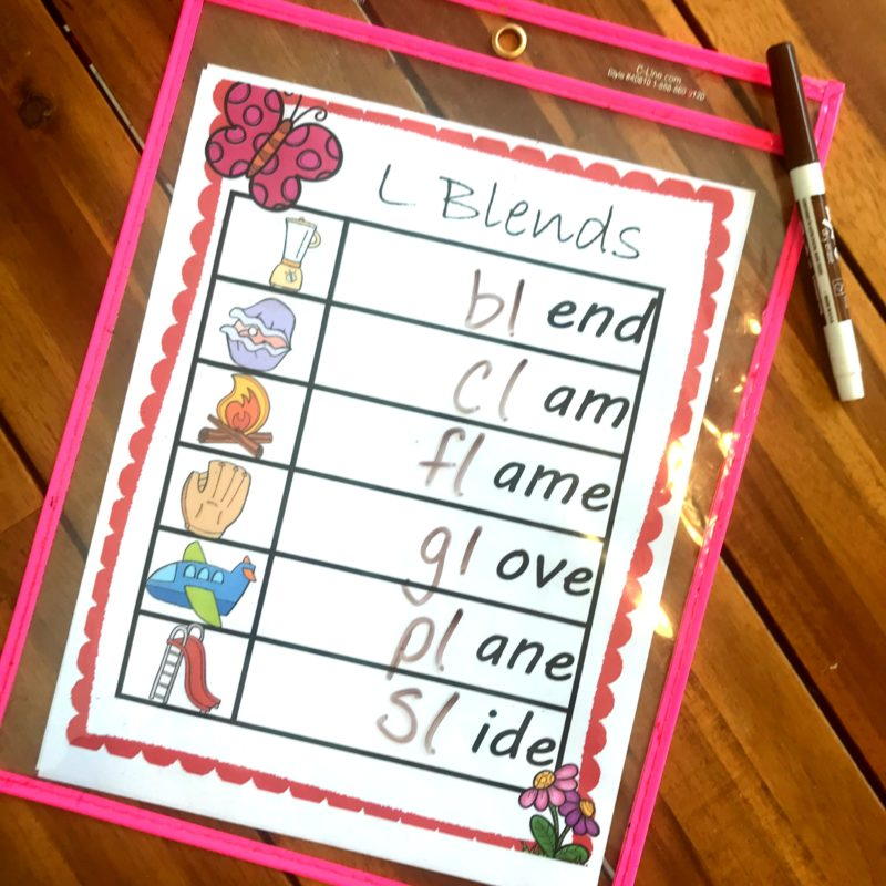 L Blends activity with free printable worksheet and pencil or dry erase mearkers for kindergartners, 1st graders and grade 2
