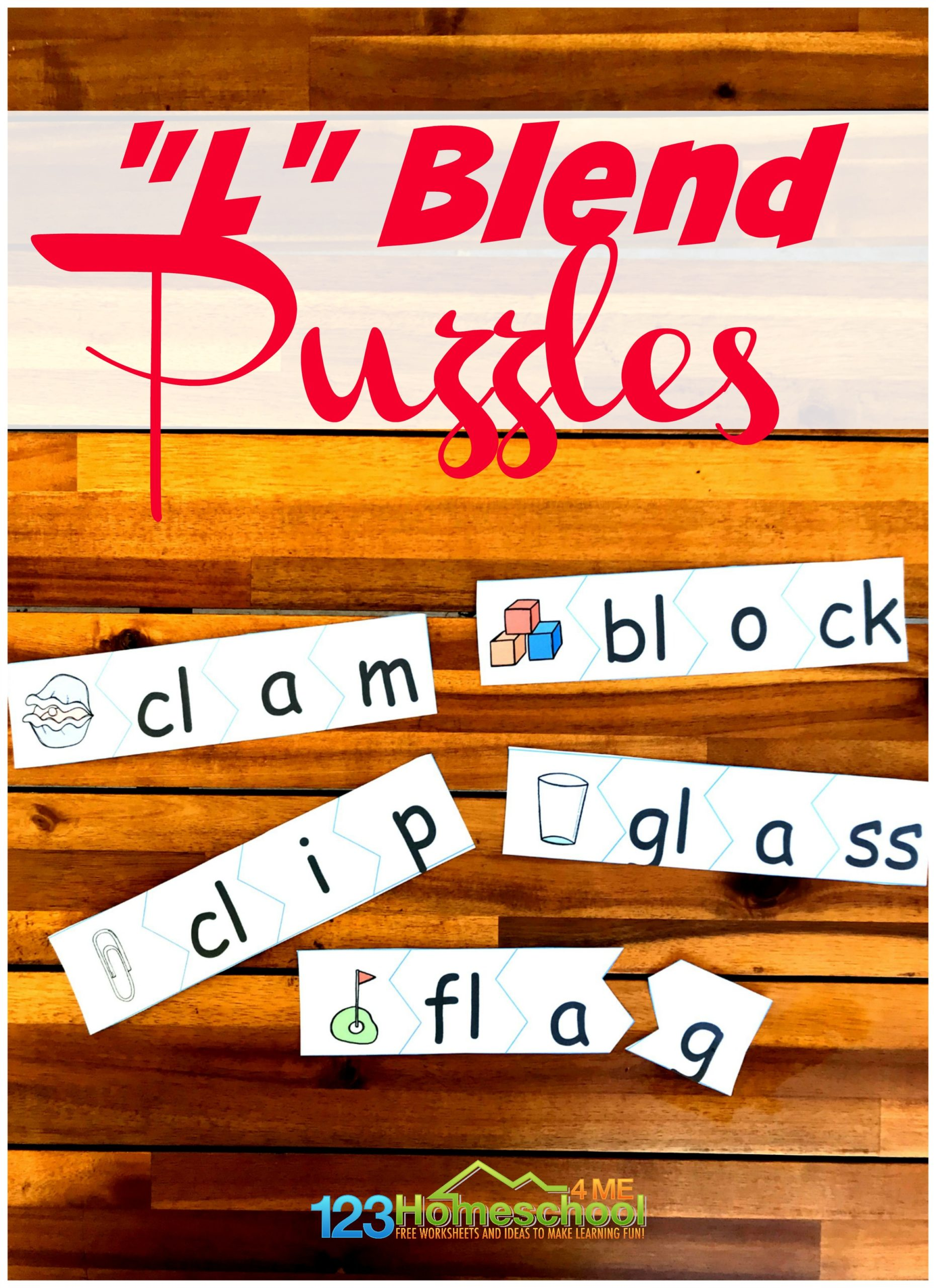 Make learning to sound out L blends FUN with these free printable puzzles. This consonant blends activity is great for helping kindergarten, first grade, and 2nd grade students learn /l/ blendswith l blend words. Simply download pdf file withl consonant blends and you are ready to play and learn withal blends activity!