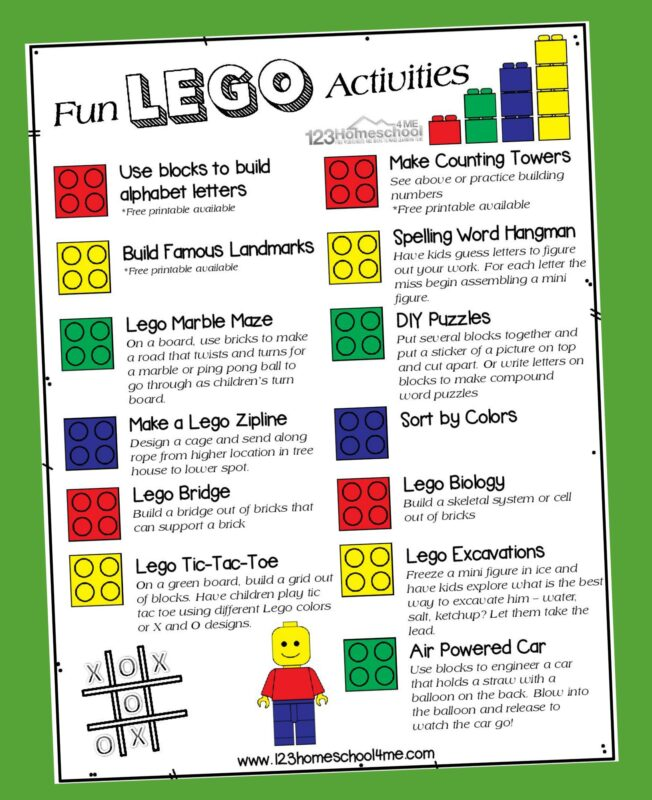 poster filled with Lego Activities for Kids