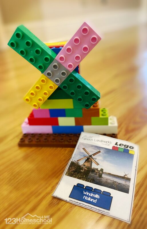 famous landmarks from around the world Lego Building Ideas for kids including windmills from hollan