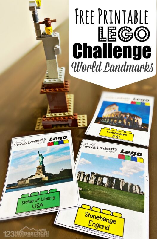 FREE Lego Printables - help preschool, pre k, kindergarten, first grade, 2nd grade, 3rd grade, 4th grade, 5th grade, 6th grade, 7th grade, and 8th grade students learn about famous landmarks around the world with this STEAM challenge. This lego challenge is a fun, engaging, hands-on educational activity.