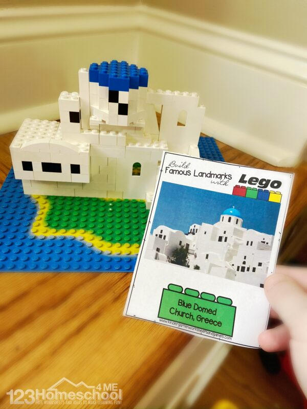 42 LEGO Crafts and Activities for Kids for Endless Fun featured by top US lifestyle blogger, Marcie in Mommyland: free printable Lego building cards like this one for blue domed church in greece