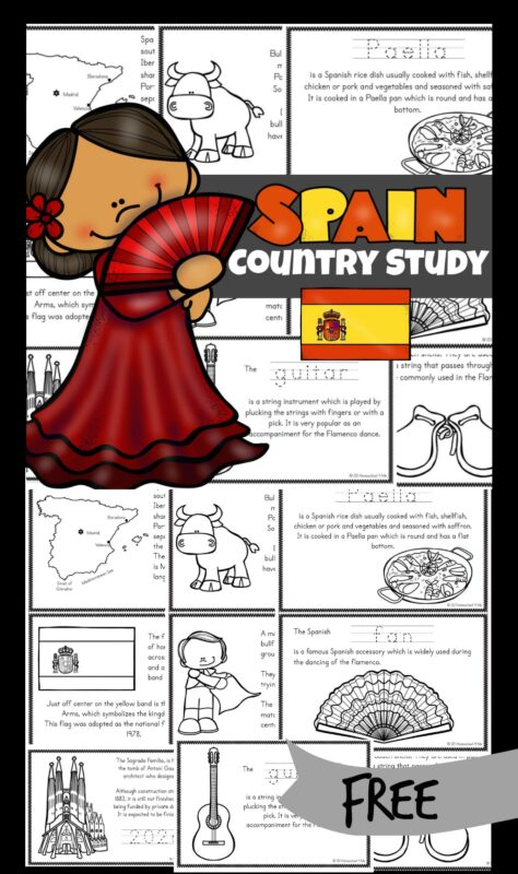 Learn about the bull fights, flamenco dancing, paella, and the history of Spain including many famous landmarks with these super cute Spain for Kids Printable Books. Simply download pdf file, print, color, and learn with this My little book about Spain. This is such a great way to to introduce countries around the world to kids from preschool, pre-k, kindergarten, first grade, 2nd grade, 3rd grade, and 4th graders too!