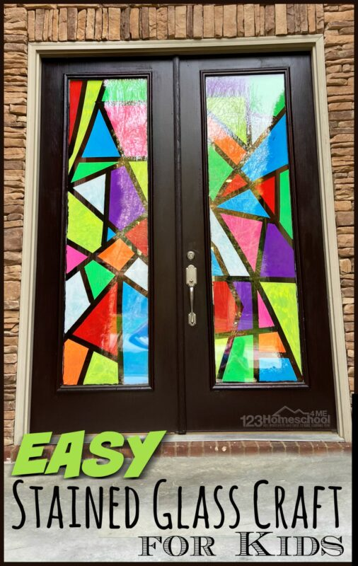 Looking for a fun project of stained glass art for kids for kids to make? You can quickly turn your window or front door into a stunningly beautiful stained glass window craft! This stained glass craft is fun for the whole family to try together; kids from preschool, pre-k, kindergarten, first grade, 2nd grade, 3rd grade, 4th grade, 5th grade, and 6th grade students will want to help. So try this kids stained glass window to turn your glass into a piece of modern art that decorate inside AND outside too!