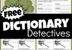 FREE Dictionary Detectives Printables for teaching dictionary skills to 3rd graders, 4th graders, 5th graders, and 6th grade students. #dictionary #worksheetsforkids #grade3 #grade4 #homeschool