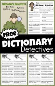 FREE Dictionary Detectives Printables for teaching dictionary skills to 3rd graders, 4th graders, 5th graders, and 6th grade students. #dictionary #worksheetsforkids #grade3 #grade4 #homeschool