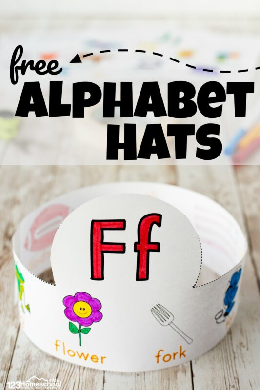 Download the free Alphabet Crowns Printable for a fun abc printable to help kids learn their alphabet letters, learn vocabulary, and work on phonemic awareness. These hugely popularalphabet hats are a great way to introduce students to the letters in the alphabet from A to Z. There is a different hat to make for each letter - perfect to go with a letter of the week program for toddlers, preschoolers, pre k, and kindergartners.