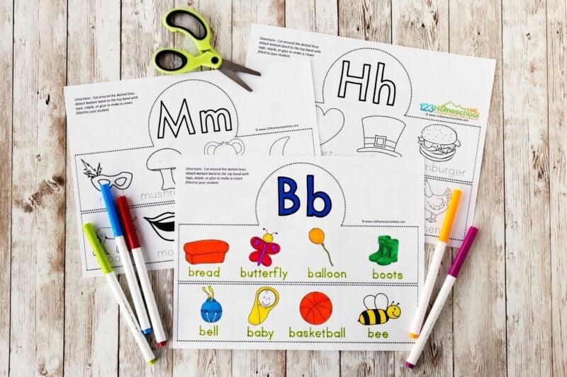 alphabet crown template for toddler, preschool, pre k, kindergarten, grade 1 students
