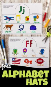 Looking for a fun abc printable to help kids learn their alphabet letters, learn vocabulary, and work on phonemic awareness. These hugely popularalphabet hats are a great way to introduce students to the letters in the alphabet from A to Z. There is a different hat to make for each letter - perfect to go with a letter of the week program for toddlers, preschoolers, pre k, and kindergartners.