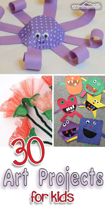 This list of arts and crafts for kids includes a lot of fun, clever ideas for kids to try. Children from toddler, preschool, pre-k, kindergarten, first grade, and 2nd grade students will love these new craft ideas! They will enjoy using their imaginations as they create paintings, crafts, projects and more.