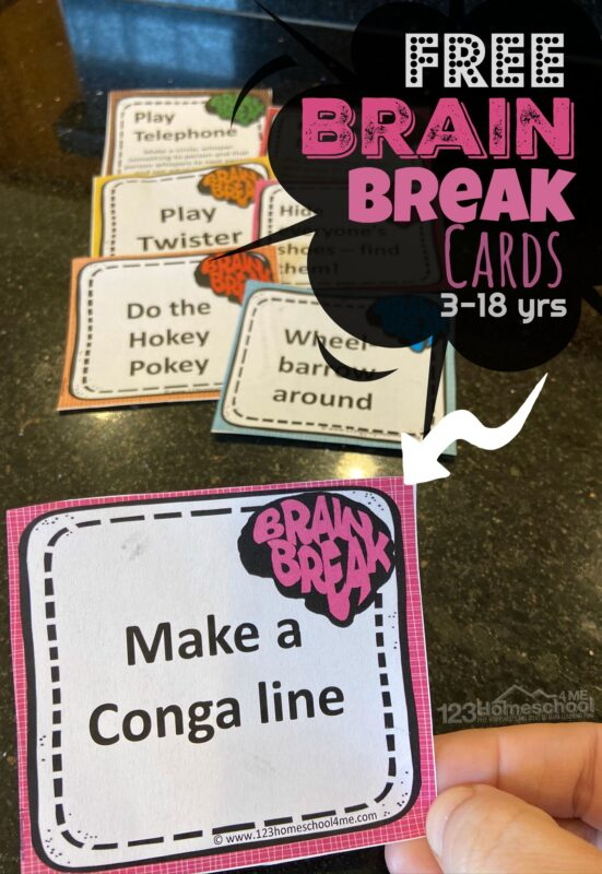 50+ Brain Breaks for Kids Cards - Whether your children are in a traditional classroom, learning online, homeschooling, or using zoom for school, young kids need a break from sitting for prolonged periods of time. No matter how engaging technology can be, kids get antsy and need to move their little bodies. We've created these fun and free printable Brain Breaks for kids to make getting the wiggles out during school FUN! These are super handy for toddlers, preschoolers, kindergartners, grade 1, grade 2, and grade 3 students.
