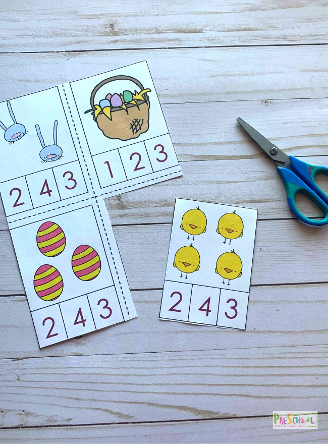 super cute, free printable clip cards for toddler and preschool kids to use in April