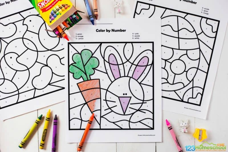 color by number easter featuring easter bunny, carrots, easter eggs, chocolate bunnys, rabbits, jelly beans, baskets with eggs and more