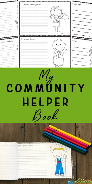 Kids will have fun learning about community helpers in their city as they make their, free printable Community Helpers Book Printable. This is a great resource for preschool, pre k, kindergarten, and 1st grade students.
