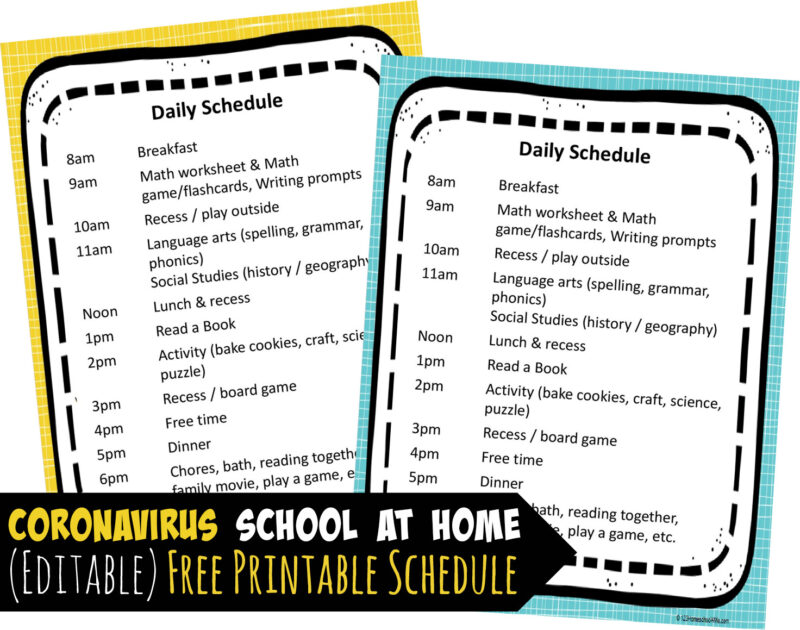 This is an image of Homeschool Schedule Printable with kindergarten