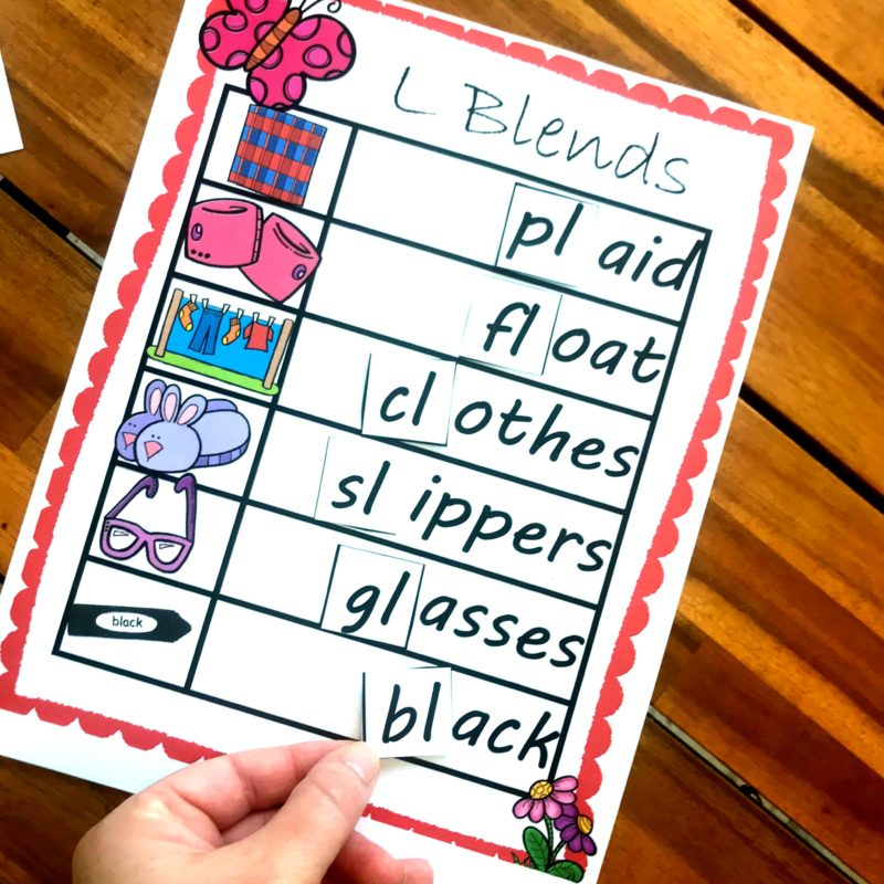 Cut and paste blends, kindergarten worksheets for working on phonics and reading readiness
