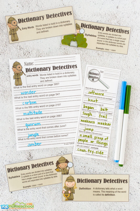dictionary detective example with answer
