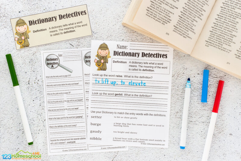 dictionary detective worksheet