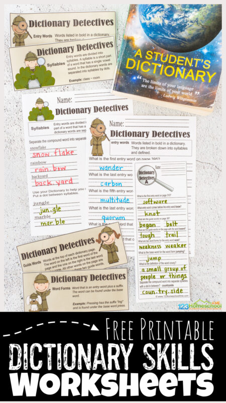 Make learning to use a dictionary FUN with dictionary detective! These dictionary skills worksheet allow kids to become detectives and solve the clues using a dictionary. These dictionary detective worksheet are perfect for grade 2, grade 3, grade 4, grade 5, and grade 6 students. Simply printdictionary worksheets pdf file to learn about entry words, syllables, guide words, word forms, definitions, practice using a dictionary and more.