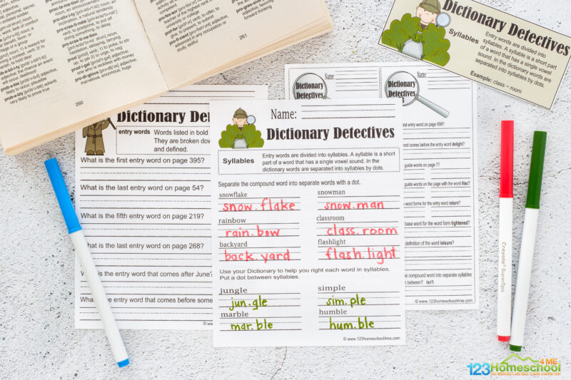 dictionary worksheets