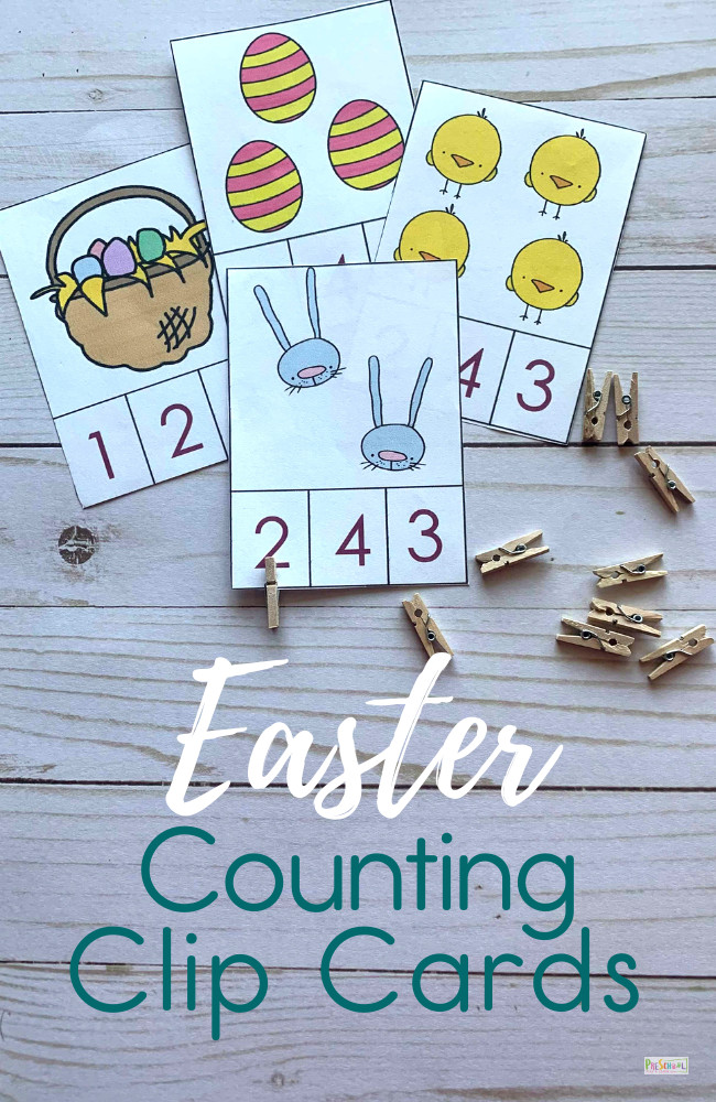 FREE Easter Counting Clip Cards - Make practicing counting to 10 fun with these FREE printable Easter Counting Clip Cards perfect math activity for april with toddlers, pre k and preschoolers. #easterprintable #eastermath #preschool #prek