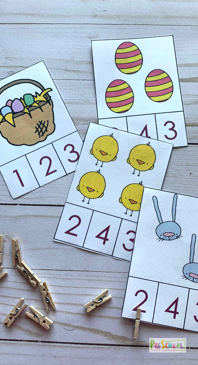 FREE Easter Printables for sneaking in some fun, educational math activities to your april activities with toddlers, preschoolers, and prek