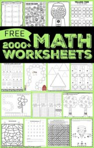FREE Math Worksheets for prek, kindergarten, and elementary age students