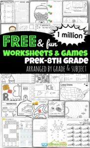 Over 1 million FREE printable worksheets for toddler, preschool, pre k, kindergarten, 1st grade, 2nd grade, 3rd grade, 4th grdae, 5th grade, and 6th grade students to make learning fun! Includes worksheets for kids (free worksheets, homeschool worksheets, and free worksheets) to practice math, english, grammar, science, history, alphabet letters and more! The best free printable worksheets for kids!