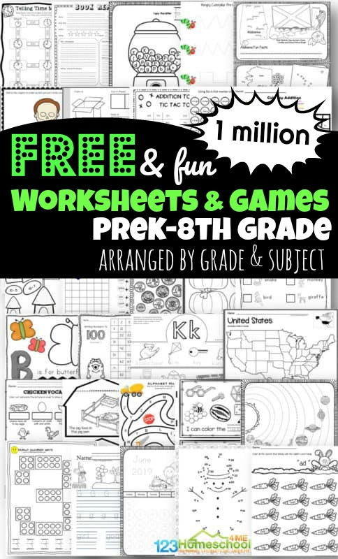 Over 1 million FREE printable worksheets for toddler, preschool, pre k, kindergarten, 1st grade, 2nd grade, 3rd grade, 4th grade, 5th grade, and 6th grade students to make learning fun! Includes worksheets for kids (free worksheets, homeschool worksheets, and free worksheets) to practice math, English, grammar, science, history, alphabet letters and more! The best free printable worksheets for kids!