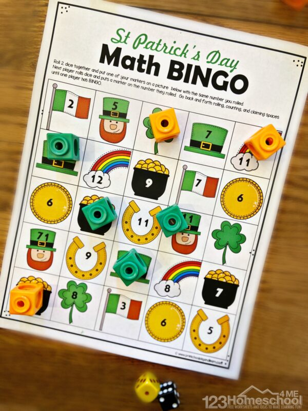 kindergarten math activity for kids to practice addition in march with a fun st patrick's day theme