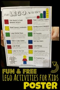 FREE Fun Lego Activities for Kids Poster - super cute free printable kids activities using lego and duplo bricks for toddler, preschool, pre k, kindergarten, 1st grae, 2nd grade, 3rd grade, 4th grade students. So many fun educational activities for a lego day, week, or month