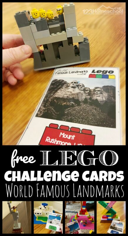 FREE Lego Challenge Cards - free printable STEAM education uses lego or duplo bricks to help students learn about famous buildings and landmarks from around the world. This fun learning activity is great for parents, teachers, school at home and homeschoolers from preschool, pre k, kindergarten, first grade, 2nd grade, 3rd grade, 4th grade, 5th grade, 6th grade, 7th grade, and 8th grade students.