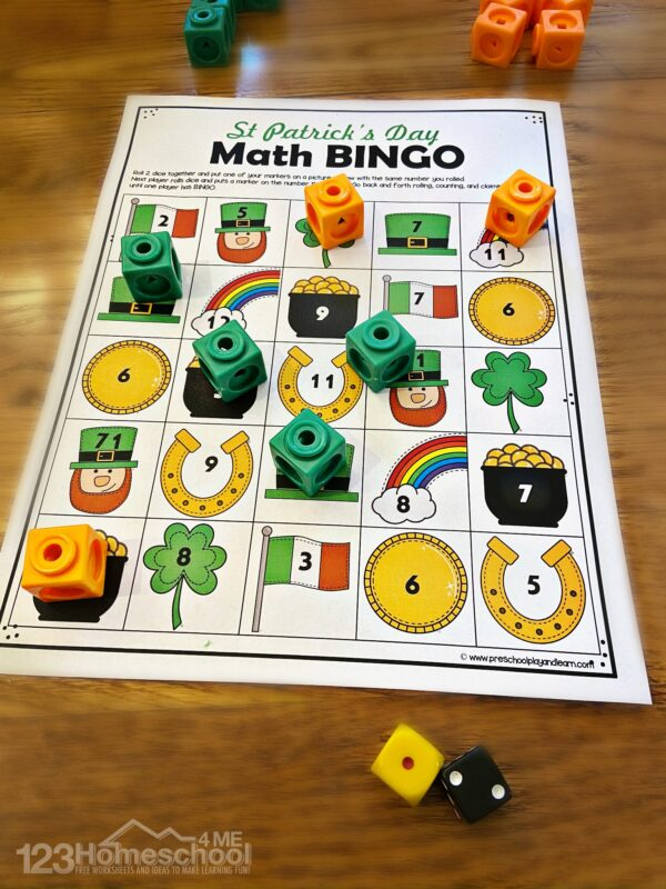 free printable st patricks day math bingo for practicing additoin with kindergarten, first grade, and 2nd graders