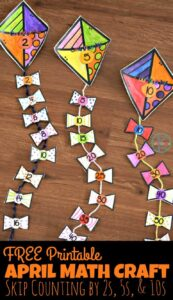 spring kite math craft for kindergarten and first graders