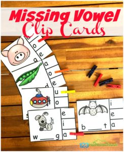 FREE Missing Vowels Clip Cards - Help kids fill in the missing letters and practice phonics with Missing Vowels Clip Cards - a fun, hands-on learning activity for prek & kindergartners.