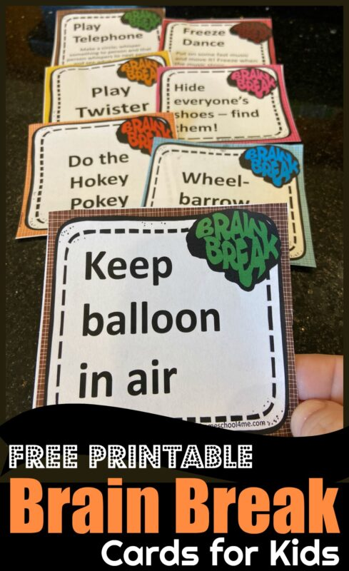 FREE Brain Break Printable - these movement breaks for kids are important to allow them to get up and stretch and will help them focus better #preschool #kindergarten #homeschool #brainbreaks #education